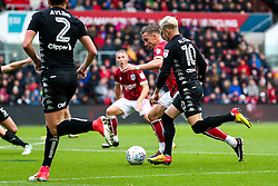 Joe Bryan of Bristol City is tackled by Ezgjan Alioski of Leeds United - Rogan/JMP - 21/10/2017 - Ashton Gate Stadium - Bristol, England - Bristol City v Leeds United - Sky Bet Championship.