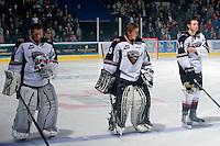 KELOWNA, CANADA, OCTOBER 1: Brendan Jensen #37, Jackson Whistle #35 and Marek Tvrdon #14 of the Vancouver Giants line up on the ice against the Kelowna Rockets on October 1, 2011 at Prospera Place in Kelowna, British Columbia, Canada (Photo by Marissa Baecker/Getty Images) *** Local Caption ***Brendan Jensen;Jackson Whistle;Marek Tvrdon;
