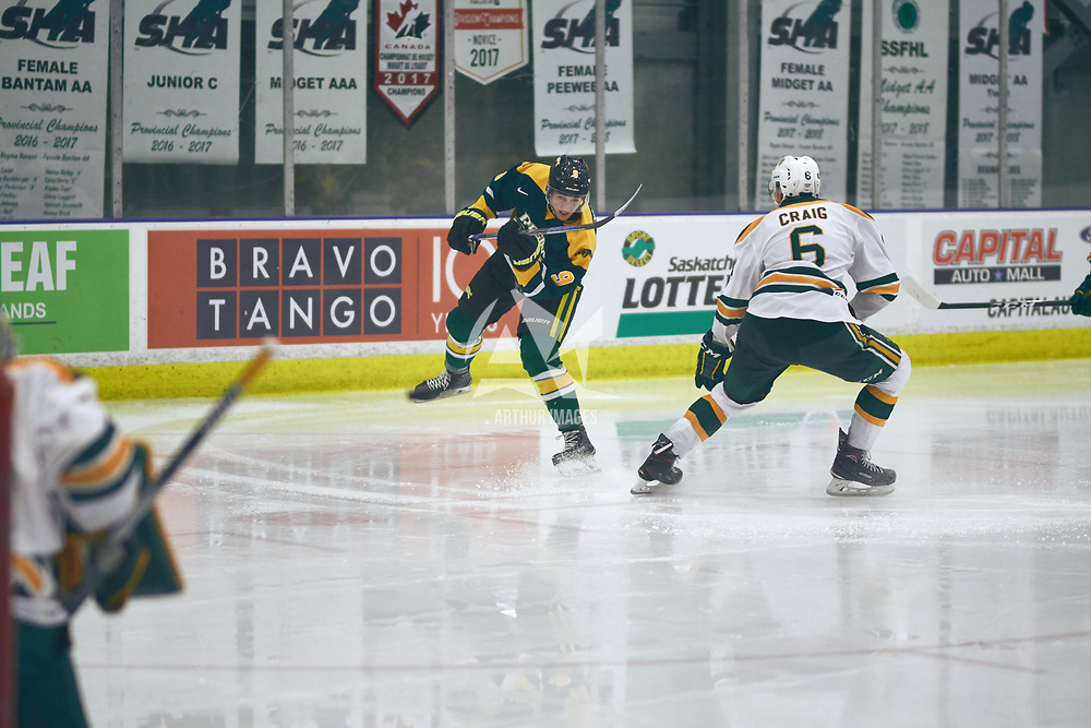 1st year forward, Conner Chaulk (9) of the Regina Cougars during the Men's Hockey Home Game on Sat Jan 26 at Co-operators Center. Credit: Arthur Ward/Arthur Images