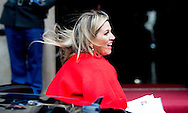 13-1-2015 AMSTERDAM - Queen Máxima and King Willem Alexander arrive at the Palace at the Dam for the new year reception. COPYRIGHT ROBIN UTRECHT