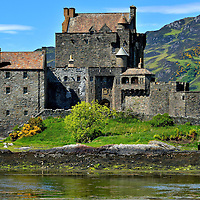 Eilean Donan Castle Profile on Loch Duich in Scottish Highlands, Scotland <br />