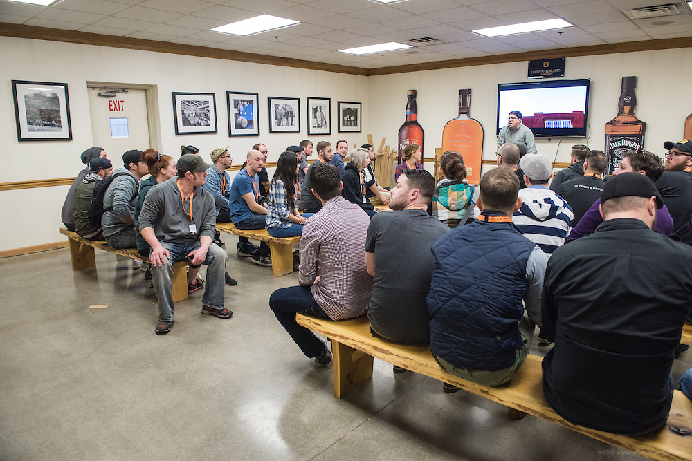 The Liquor.com Woodford Reserve Bartender Trip guests tour the  Woodford Reserve Cooperage in Louisville, Ky. (Photo by Brian Bohannon)