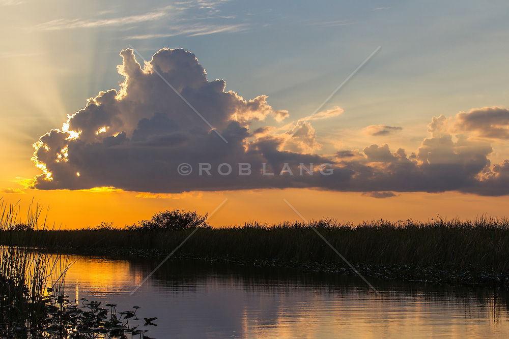 The setting sun behind a cloud in The Florida Everglades