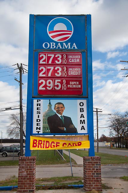 Obama Gas on Ford Street, Detroit