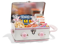 Girly lunchbox on white background