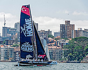 10.12.2015. Farm Cove, Sydney, Australia. Extreme Sailing Act 8. Media Day. Team Turx (TUR)  practice races In Farm Cove, Sydney, Australia. Team Turx (TUR) will sail in the final Act of the 2015 Extreme Sailing Series in Sydney  from 11-13th December 2015.