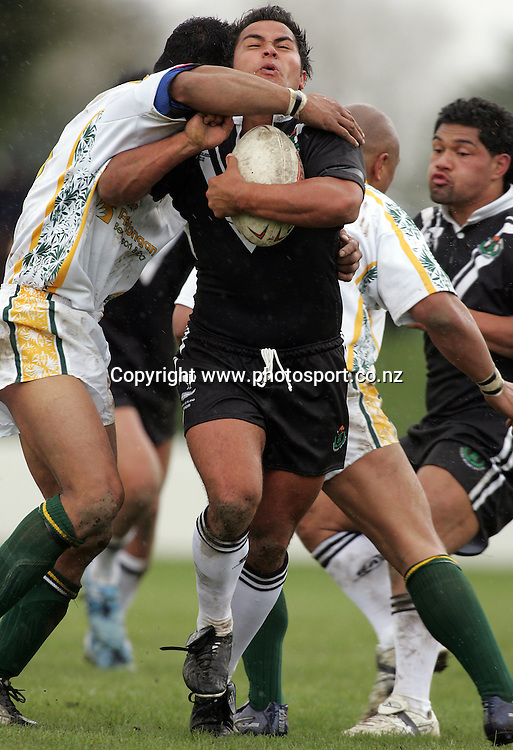 Aaron Heremaia during the Rugby League test match between NZ Maori and the Cook Islands at Tokoroa Park, Tokoroa, New Zealand on Saturday 8 October, 2005. The match ended in a 26-26 draw. Photo: Hannah Johnston/PHOTOSPORT<br />