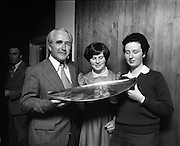 Seafood Cook in Rosslare 07/05/1976.05/07/1976.7th May 1976.Photograph left to right, Mr. Tom Geoghegan, Market Development Manager, B.I.M., Miss Ann Hehir, Domestic Science Teacher , of the winner and Yvonne Cooney, (15 years), Dominican Convent, Muckross Park, Dublin with her trophy.