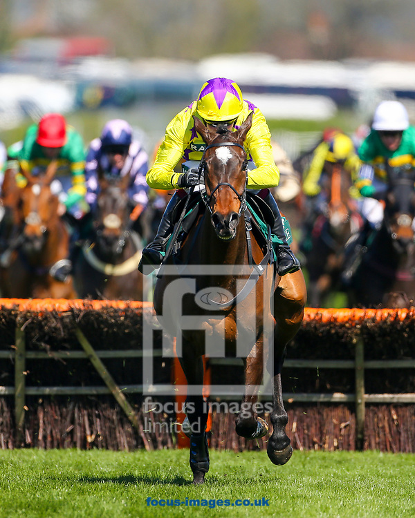 Fountains Windfall ridden by David Noonan (Yellow, purple stars) wins the Gaskells Handicap Hurdle on Grand National Day of the Randox Grand National Festival at Aintree Racecourse, Liverpool<br /> Picture by Mark Chappell/Focus Images Ltd +44 77927 63340<br /> 08/04/2017