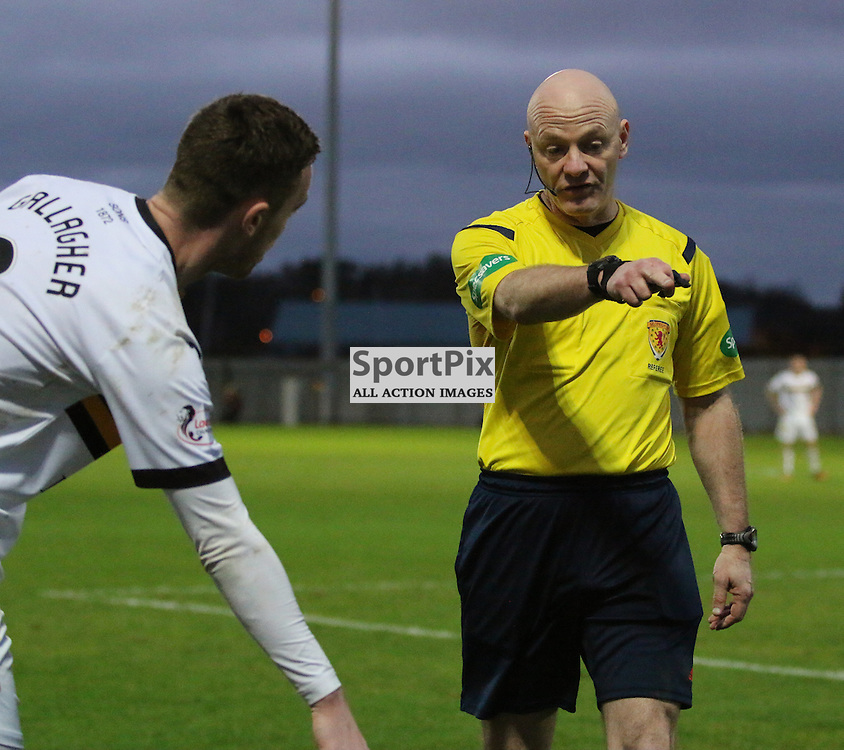 Grant Gallagher and Ref Charleston argue about where the free kick is  during the Dumbarton v Rangers  Scottish Championship  02 January 2016<br /> <br /> (c) Andy Scott | SportPix.org.uk