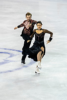 KELOWNA, BC - OCTOBER 26: American figure skaters Kaitlin Hawayek and Jean-Luc Baker compete in ice dance free dance of Skate Canada International held at Prospera Place on October 26, 2019 in Kelowna, Canada. (Photo by Marissa Baecker/Shoot the Breeze)