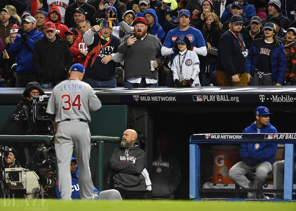 Oct 25, 2016; Cleveland, OH, USA; Chicago Cubs starting pitcher Jon Lester (34) walks to the dugout after being relieved in the 6th inning against the Cleveland Indians in game one of the 2016 World Series at Progressive Field. Mandatory Credit: Ken Blaze-USA TODAY Sports