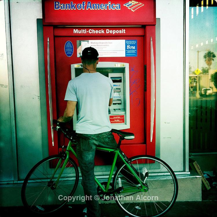 A Bank of America ATM machine in Venice, California