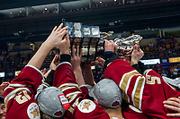 REGINA, SK - MAY 27:  The  Acadie-Bathurst Titan hoist the Memorial Cup trophy at centre ice after the win against the Regina Pats at Brandt Centre - Evraz Place on May 27, 2018 in Regina, Canada. (Photo by Marissa Baecker/CHL Images)