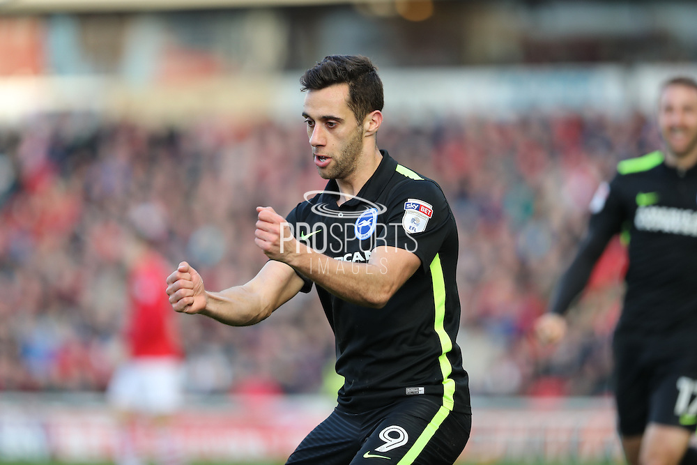 Brighton & Hove Albion centre forward Sam Baldock (9) scores a goal 1-0 and celebrates during the EFL Sky Bet Championship match between Barnsley and Brighton and Hove Albion at Oakwell, Barnsley, England on 18 February 2017.