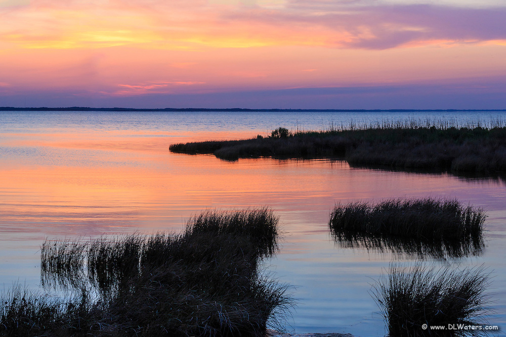 Sunset at Duck, NC boardwalk on the Outer Banks.