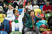 UNITED KINGDOM, London: 2015 World Wheelchair Rugby Challenge. Caption: South African fans cheer on their team during a game against New Zealand. Rick Findler / Story Picture Agency