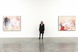 "© Licensed to London News Pictures. 04/02/2019. London, UK. Artist Tracey Emin Tang poses with her painting titled ""The Memory of your Birth"" 2018 (L) and painting titled ""Rape"" 2018 (R). The art work is showing as part of the 'A Fortnight of Tears Exhibition' at The White Cube gallery. Editorial usage only. Photo credit: Ray Tang/LNP"