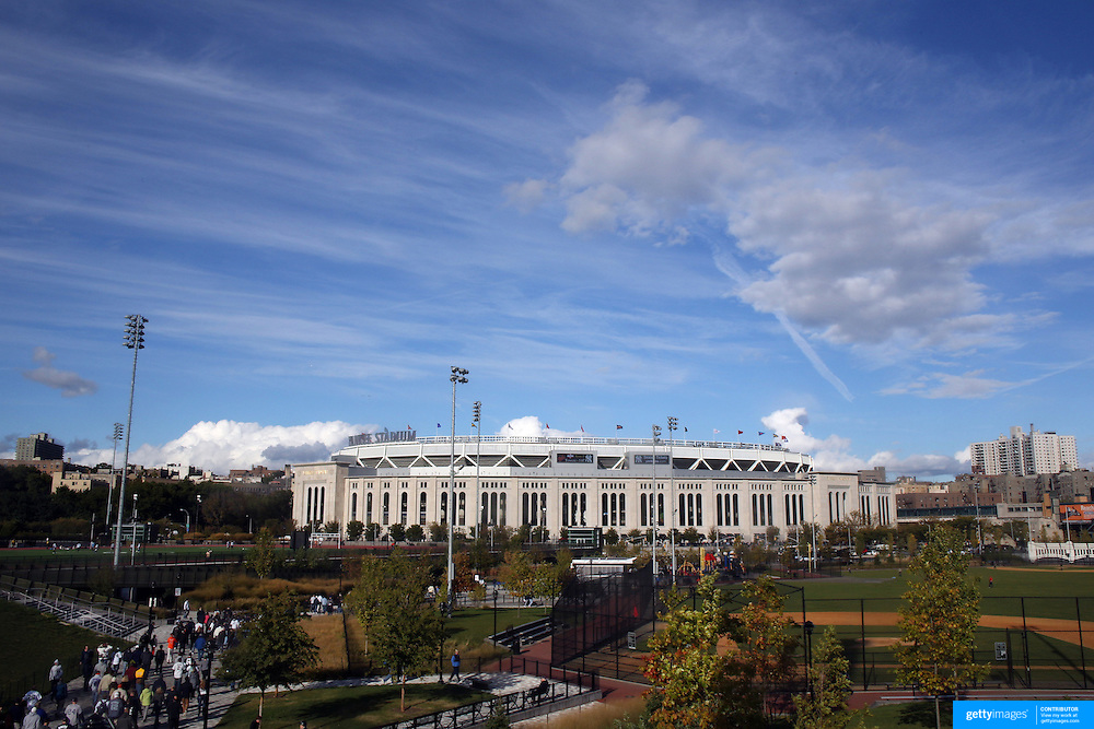 Yankee Stadium in the early evening before the New York Yankees V Baltimore Orioles American League Division Series play-off decider at Yankee Stadium, The Bronx, New York. 12th October 2012. Photo Tim Clayton