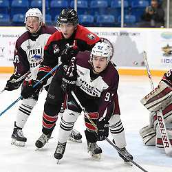 "TRENTON, ON  - MAY 2,  2017: Canadian Junior Hockey League, Central Canadian Jr. ""A"" Championship. The Dudley Hewitt Cup. Game 1 between Dryden GM Ice Dogs and the Georgetown Raiders. Jacob Payette #6 of the Georgetown Raiders battles for control with Mark Ziobro #97 of the Dryden GM Ice Dogs during the second period.<br /> (Photo by Andy Corneau / OJHL Images)"