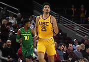 Feb 21, 2019; Los Angeles, CA, USA; Southern California Trojans forward Bennie Boatwright (25) reacts in the first half against the Oregon Ducks at Galen Center. USC defeated Oregon 66-49.