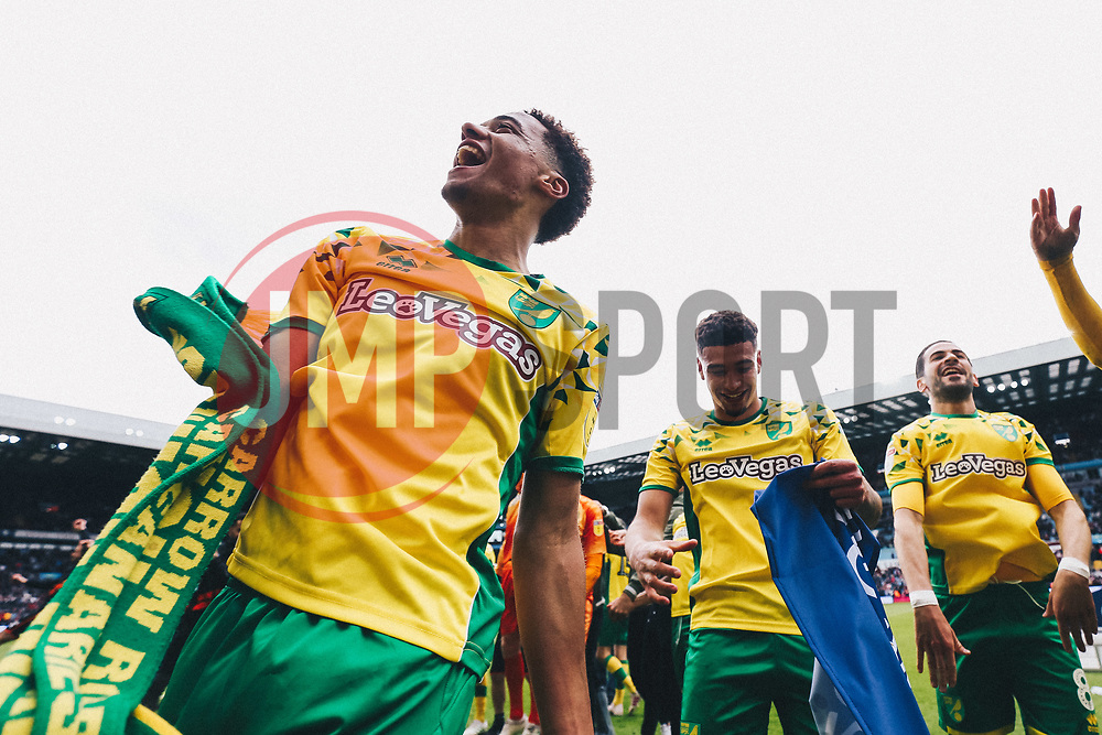 Jamal Lewis as Norwich City celebrate winning the Sky Bet Championship as well as promotion - Rogan/JMP - 05/05/2019 - Villa Park - Birmingham, England - Aston Villa v Norwich City - Sky Bet Championship.
