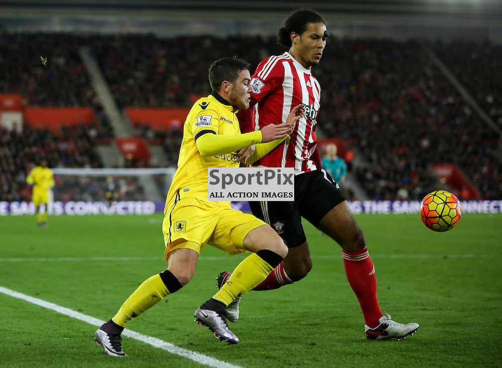 Jordan Veretout pushes Virgil Van Dijk During Southampton vs Aston Villa on Saturday the 5th December 2015.