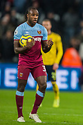 Michail Antonio (West Ham) with the ball during the Premier League match between West Ham United and Arsenal at the London Stadium, London, England on 9 December 2019.