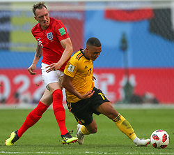 July 14, 2018 - Saint Petersburg, Russia - Phil Jones (L) of the England national football team and Youri Tielemans of the Belgium national football team vie for the ball during the 2018 FIFA World Cup Russia 3rd Place Playoff match between Belgium and England at Saint Petersburg Stadium on July 14, 2018 in St. Petersburg, Russia. (Credit Image: © Igor Russak/NurPhoto via ZUMA Press)