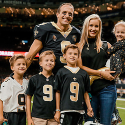 Aug 17, 2018; New Orleans, LA, USA; New Orleans Saints quarterback Drew Brees (9) poses with his wife Brittany Brees and sons Callen Brees and Bowen Brees and Baylen Brees and daughter Rylen Brees prior to a preseason game at the Mercedes-Benz Superdome. Mandatory Credit: Derick E. Hingle-USA TODAY Sports