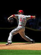 Apr. 10 2011; Phoenix, AZ, USA; Cincinnati Reds pitcher Mike Leake (44) pitches against the Arizona Diamondbacks at Chase Field. Mandatory Credit: Jennifer Stewart-US PRESSWIRE..