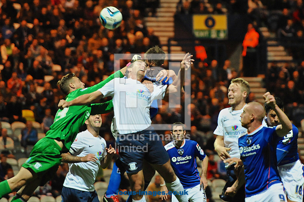 Picture by Ian Wadkins/Focus Images Ltd +44 7877 568959<br /> 09/09/2013<br /> Declan Rudd of Preston North End punches clear during the Sky Bet League 1 match at Deepdale, Preston.