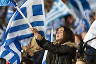 TaekwondoIndoor Stadium, Faliro, Athens, Greece. 23rd January, 2015. Supporters of the New Democracy party of Greece converge on the TaekwondoIndoor Stadium in Faliro, southern Athens, to listen to the party's leader Antonis Samaras before the country's elections on Sunday.