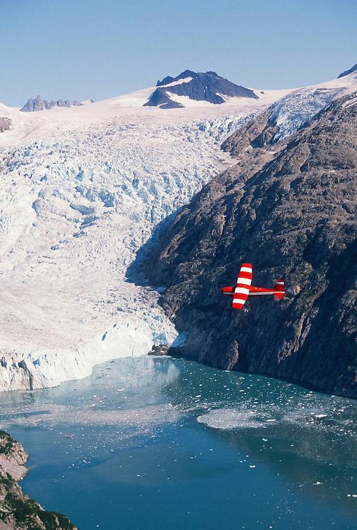 Alaska. Kenai Fjords. Cessna 180 over Kenai Fjords NP.