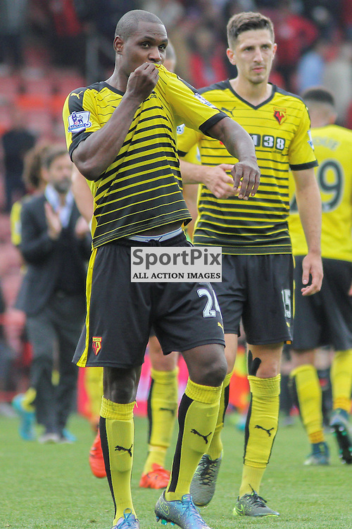 Odion Ighalo of Watford kisses the watford badge after the game between Bournemouth vs Watford on Saturday 3rd of October 2015.