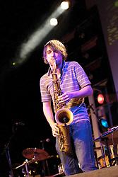 Cheltenham Jazz Festival, Cheltenham, United Kingdom, Mercury Music Prize Nominees rock-jazz band Roller Trio, who exploded onto the UK scene in 2012, play in the Jazz Arena. Monday 06 May, 2013, Photo by: i-Images