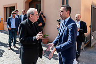 ROME, ITALY - JULY 19:  Luigi Di Maio, Minister of Labour and Economic Development and Vice Premier  with  Monsignor Enrico Feroci, director of Caritas of Rome during a visit to the Citadel of Charity of St Jacinta of Rome and to meet the operators who fight against ludopathyon July 19, 2018 in Rome, Italy. (Photo by Stefano Montesi - Corbis/Getty Images)*** Local Caption ***Luigi Di Maio,;Enrico Feroci