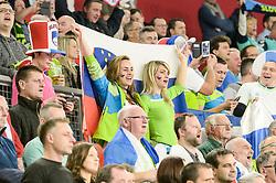 Fans of Slovenia during handball match between National teams of Slovenia and Spain on Day 6 in Main Round of Men's EHF EURO 2018, on January 23, 2018 in Arena Varazdin, Varazdin, Croatia. Photo by Mario Horvat / Sportida