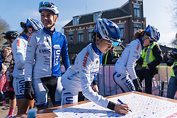 Coryn Rivera and her UnitedHealthcare teammates sign in  - Drentse 8, a 140km road race starting and finishing in Dwingeloo, on March 13, 2016 in Drenthe, Netherlands.