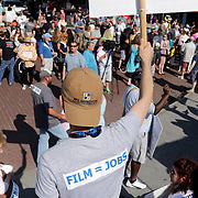 Members of the Wilmington Film Community gather during a pro film incentives rally Sunday May 4, 2014 in Wilmington, N.C. (Jason A. Frizzelle)