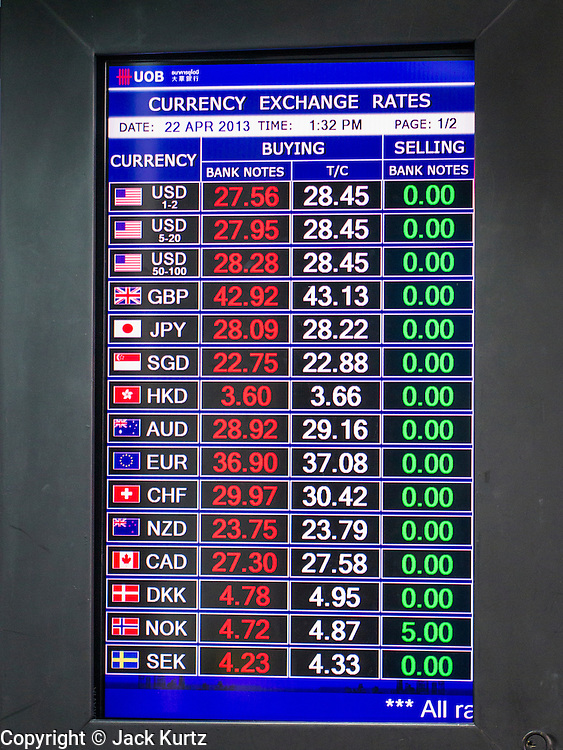 22 APRIL 2013 - BANGKOK, THAILAND: Exchange rates are posted in foreign currency exchange kiosk in Bangkok. The Thai Baht has gained markedly against the US Dollar, the Euro and Pound Sterling in recent months. On Monday, the Baht was trading at 28.57 Baht to 1 US Dollar on Apr. 22. The strengthening Baht means imported goods are cheaper in Thailand, but Thai exports cost more in other countries. It also means tourists and expats who live in Thailand have less money to spend as their currencies buy fewer Baht. The baht has risen 5 percent against the dollar this year to its highest level since before the Asian financial crisis in 1997. The Federation of Thai Industries, which has led calls for the authorities to act to lower the baht, said the rise in the past two weeks had been too rapid and its members were finding it hard to cope with the volatility because as the Baht appreciates their exports become more expensive. Thailand is among the world's leading exporters of rice, chicken, pork, electrical components, cars and is the leading exporter of canned tuna.    PHOTO BY JACK KURTZ