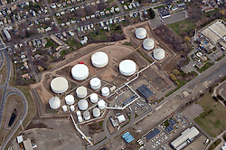 Motiva Enterprises Terminal Operations New Haven Harbor, Connecticut. Aerial views of Terminal, Storage Tanks, Racks, Product Shipping, Receiving & Loading Ops.