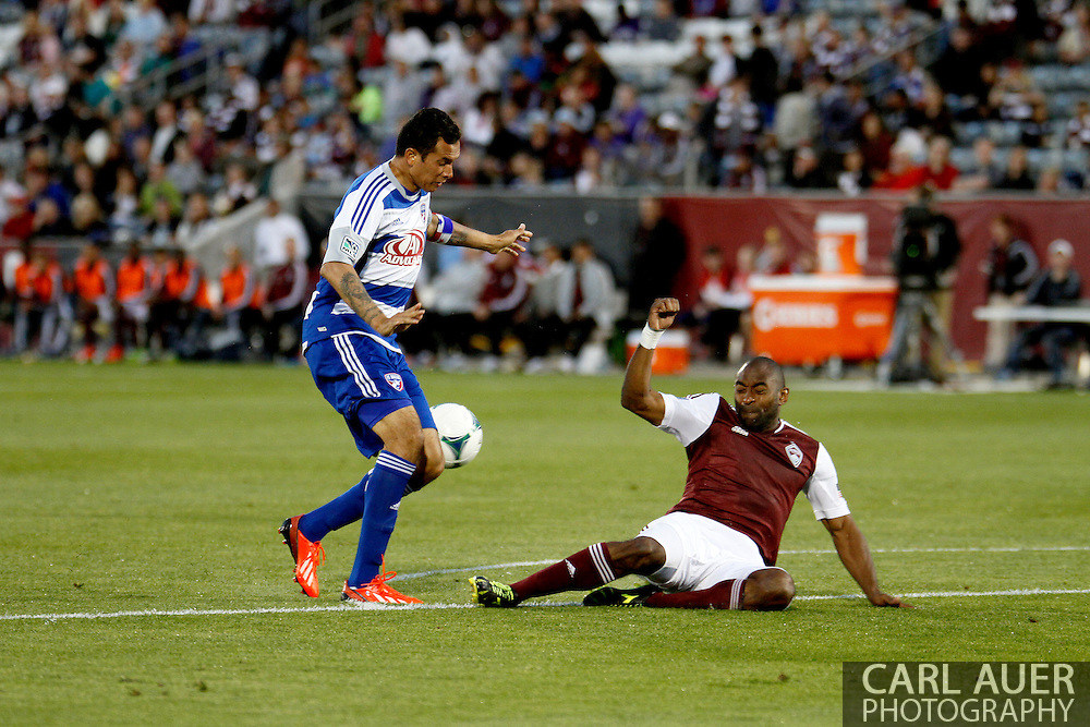 June 1st, 2013 - Colorado Rapids defender Marvell Wynne (22) breaks up the progress of FC Dallas forward Blas Pérez (7) in the second half of action in the MLS match between FC Dallas and the Colorado Rapids at Dick's Sporting Goods Park in Commerce City, CO