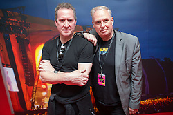 © Licensed to London News Pictures . 09/08/2015 . Siddington , UK . ANDY MCCLUSKEY and PAUL HUMPHREYS of OMD ( Orchestral Manoeuvres in the Dark ) back stage . The Rewind Festival of 1980s music , fashion and culture at Capesthorne Hall in Macclesfield . Photo credit: Joel Goodman/LNP