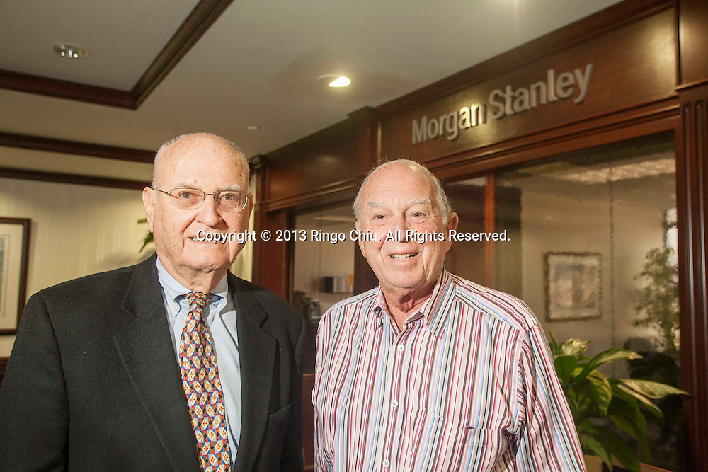 Alfred Stern, left (80), and Aaron Eshman (86) partners and financial advisors in Morgan Stanley's Westwood office. (Photo by Ringo Chiu/PHOTOFORMULA.com)
