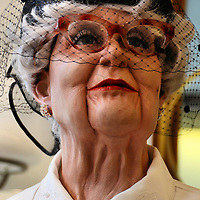 Old Wax Woman Wearing Pillbox Hat in Baden-Baden, Germany<br />