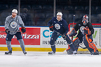 KELOWNA, BC - SEPTEMBER 22:  Leon Draisaitl #29 of the Edmonton Oilers stops in front of the net and looks for the pass during practice at Prospera Place on September 22, 2019 in Kelowna, Canada. (Photo by Marissa Baecker/Shoot the Breeze)
