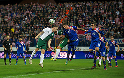 OSIJEK, CROATIA - Tuesday, October 16, 2012: Wales' Darcy Blake in action against Croatia's Mario Mandzukic during the Brazil 2014 FIFA World Cup Qualifying Group A match at the Stadion Gradski Vrt. (Pic by David Rawcliffe/Propaganda)