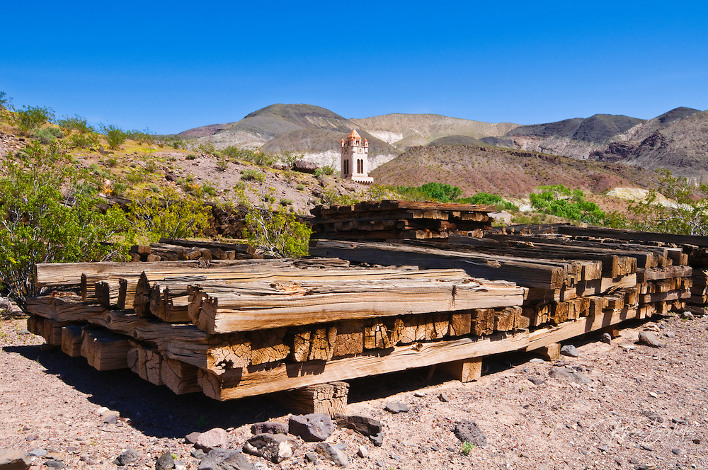 Railroad ties at Scottys Castle, Death Valley National Park. California