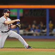 NEW YORK, NEW YORK - July 08: Daniel Murphy #20 of the Washington Nationals makes an out at second base during the Washington Nationals Vs New York Mets regular season MLB game at Citi Field on July 08, 2016 in New York City. (Photo by Tim Clayton/Corbis via Getty Images)